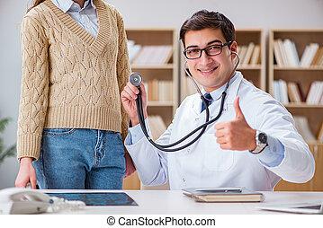 聽診器, 檢查, 病人, 年輕, 醫生