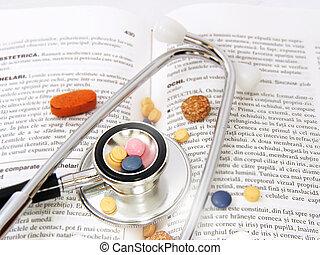 聽診器, &, 藥物, 上, 醫學, 書