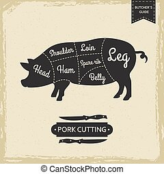 肉屋, ポーク, 型, -, 図書館, 切断, ベクトル, デザイン, ポスター, ページ