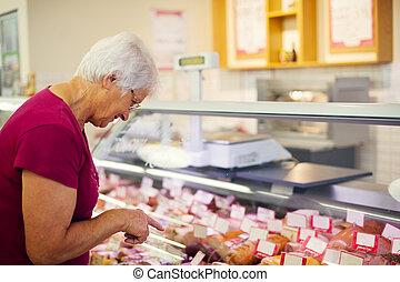 肉屋, 店, 年長の 女性