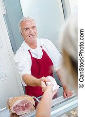 肉屋, 顧客, 渡ること, 産物