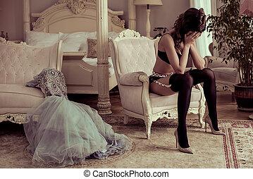 肉感, 压抑, 妇女喊叫, 在中, 奢侈, 公寓