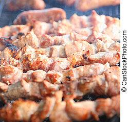 肉, カバブ, (shashlik), おいしそうである, 新たに, shish