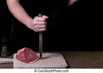 肉, スペース, kitchen., cutt, 未加工, 肉屋, beaf, コピー, 準備