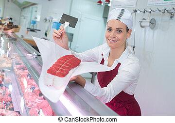 肉, 上に, カウンター, 肉屋, 提出すること, 女性