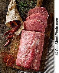 肉, 木製である, 未加工, まな板, 新たに