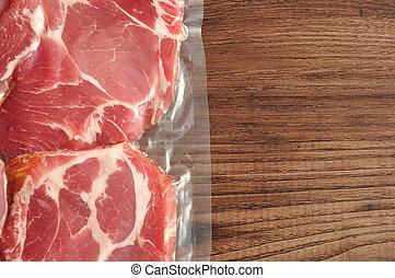 肉, 木製である, 示された, 背景, 真空が詰め込まれる