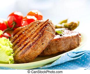 肉, 牛肉, 上に, グリルされた, 白, ステーキ