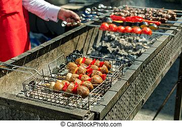 肉, 食物, 串, 野菜, picnic., 伝統的である, 暑い, coal., グリルされた, 揚げられている