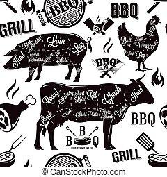 肉, seamless, イラスト, ベクトル, パターン, 切口, バーベキュー