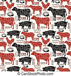 肉, shop., pattern., seamless, 肉屋, silhouette., cuts., ベクトル, 動物, 図, illustration.