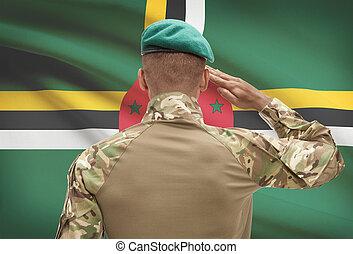 肌が黒, -, 兵士, 旗, 背景, ドミニカ