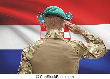 肌が黒, -, 兵士, 旗, croatia, 背景