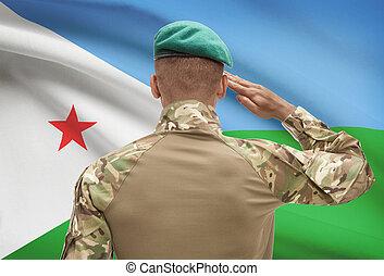 肌が黒, -, 旗, 兵士, djibouti, 背景