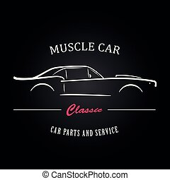 肌肉, 汽車, silhouette.