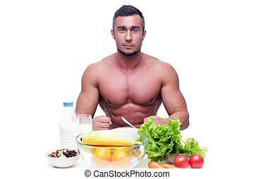 肌肉, 食物, 愉快, 坐, 人, 桌子, 健康