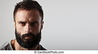 肖像画, あごひげを生やしている, ハンサム, 人