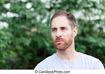 肖像画, あごひげを生やしている, 公園, 偶然, 人