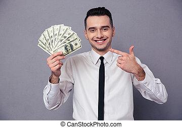 肖像画, お金, 幸せ, 保有物, ビジネスマン