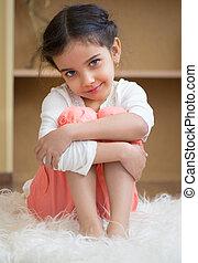肖像画, かわいい, 女の子, ヒスパニック