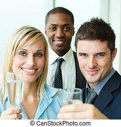 肖像画, こんがり焼ける, businesspeople, シャンペン