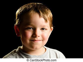 肖像画, の, いたずら好きである, smirking, 子供, 隔離された, 上に, 黒