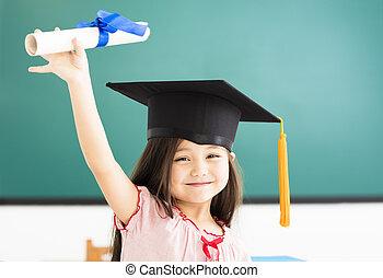 肖像画, の, かわいい, 女生徒, ∥で∥, 卒業, 帽子, 中に, 教室