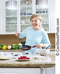 肖像画, の, すてきである, 若い女性, 料理, パンケーキ, 中に, 台所, 環境