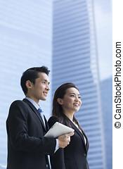肖像画, の, アジアのビジネス, partners.