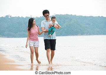 肖像画, の, アジア 家族, 歩くこと, 浜