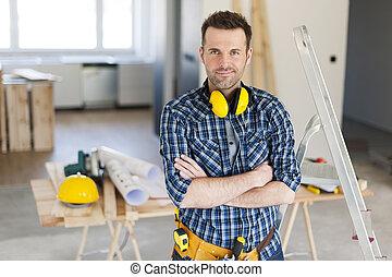 肖像画, の, ハンサム, 建築作業員