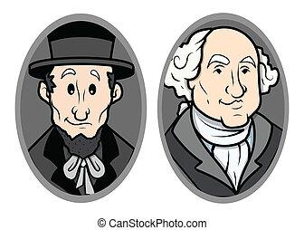 肖像画, の, ワシントン, そして, リンカーン