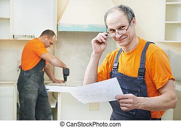 肖像画, の, 台所, 取付け, 労働者