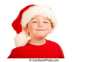 肖像画, の, 子供, 身に着けていること, サンタの 帽子