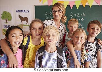 肖像画, の, 学童, ∥で∥, 教師
