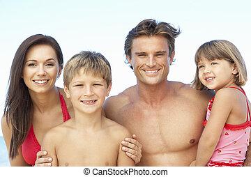 肖像画, の, 家族, 上に, 夏, ビーチ休日