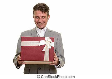 肖像画, の, 幸せ, ビジネスマン, 開始ギフト, 箱, 間, 微笑