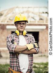 肖像画, の, 建築作業員
