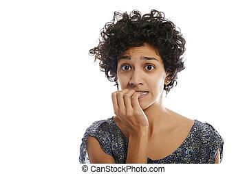 肖像画, の, 強調された, 女, かむこと, 指の爪
