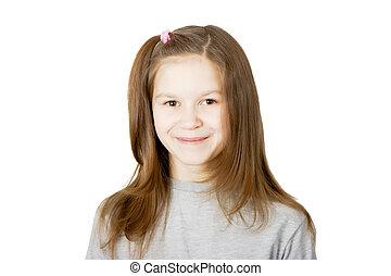肖像画, の, 微笑の女の子