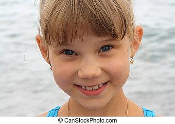 肖像画, の, 微笑, わずかしか, 面白い, ブロンド, 女の子