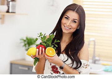 肖像画, の, 微笑, 若い, 主婦, 中に, 現代, 台所