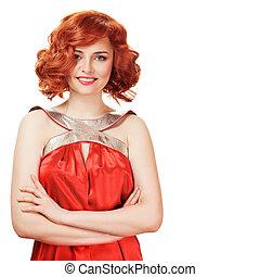 肖像画, の, 微笑, 赤い髪, woman., 隔離された, 上に, white.