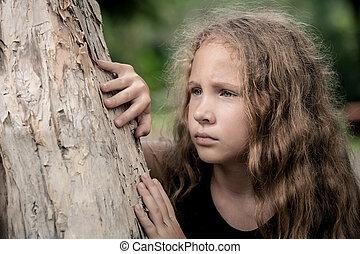 肖像画, の, 悲しい, ブロンド, 10代少女