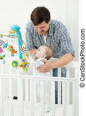 肖像画, の, 愛らしい, 赤ん坊, 遊び, 中に, 折畳み式ベッド, ∥で∥, 彼の, 父