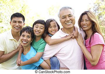 肖像画, の, 拡大家族, グループ, パークに