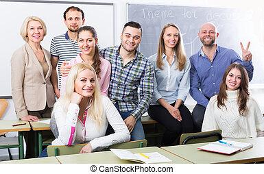 肖像画, の, 教師, そして, 生徒