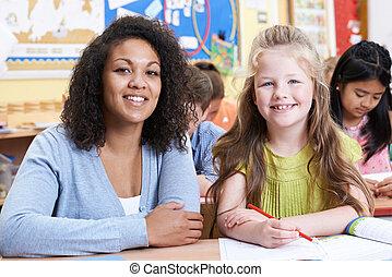 肖像画, の, 教師, ∥で∥, 女性, 小学校, 生徒, クラスで