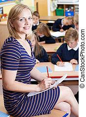肖像画, の, 教師, クラスで, ∥で∥, 生徒