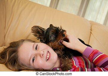 肖像画, の, 犬と一緒の子供